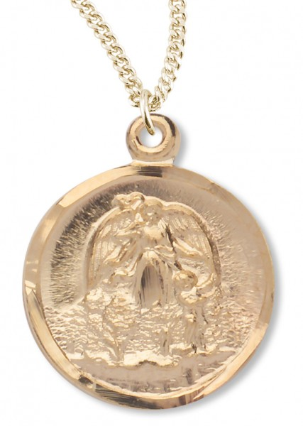 Women's 14kt Gold Plated Round Guardian Angel Necklace + 18 Inch Gold Plated Chain & Clasp - Gold-tone