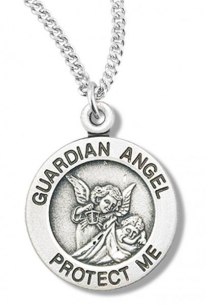 "Women's Sterling Silver Round Guardian Angel Necklace with Chain Options - 18"" 1.8mm Sterling Silver Chain + Clasp"