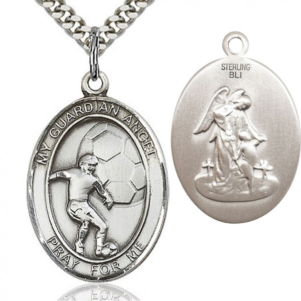 "Guardian Angel Soccer Medal, Sterling Silver, Large - 24"" Sterling Silver Chain + Clasp"