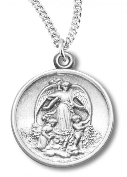 "Woman's Sterling Silver Round Guardian Angel Necklace with Chain Options - 18"" 2.1mm Rhodium Plate Chain + Clasp"