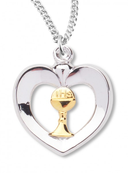 "Women's Sterling Silver Two Tone Heart Necklace with Chain Options - 20"" 1.8mm Sterling Silver Chain + Clasp"