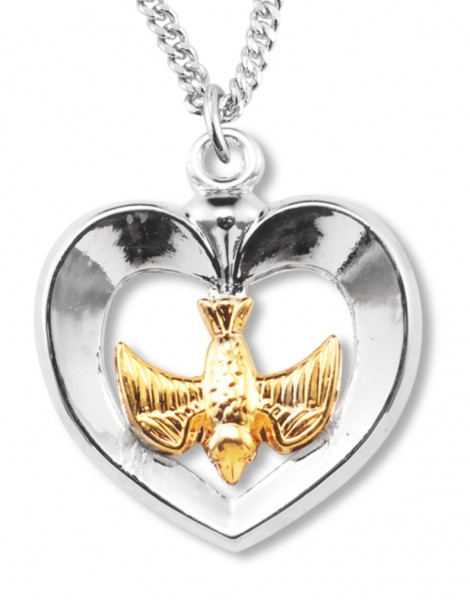 "Women's Sterling Silver Two Tone Heart Necklace with Holy Spirit Center with Chain Options - 20"" 2.25mm Rhodium Plated Chain with Clasp"