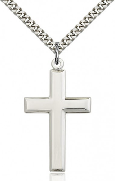 "Men's Luxury High Polish All Sterling Silver Cross Pendant - 24"" 1.7mm Sterling Silver Chain & Clasp"