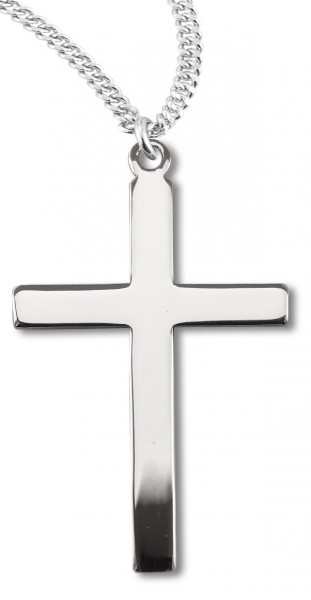 "Women's or Boy's High Polish Cross Necklace Plain Sterling Silver with Chain - 20"" 2.25mm Rhodium Plated Chain with Clasp"