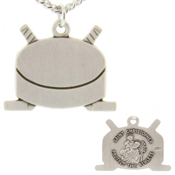 "Hockey Themed Stick and Puck Necklace with Saint Christopher Back in Sterling Silver - 24"" 2.4mm Rhodium Plate Endless Chain"
