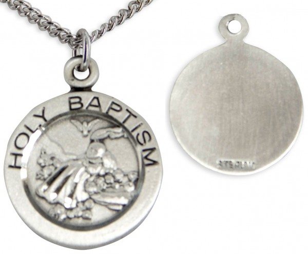 "Youth Sterling Silver Baptism Necklace with Chain Options - 18"" 2.1mm Rhodium Plate Chain + Clasp"