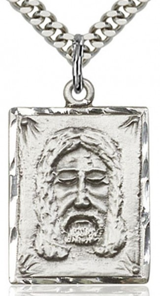 "Holy Face Medal, Sterling Silver - 24"" 2.4mm Rhodium Plate Endless Chain"