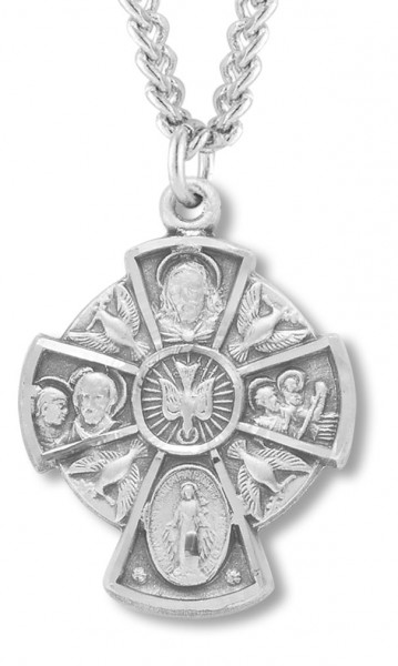 "Women's Sterling Silver Holy Spirit 4 Way Cross Necklace with Chain Options - 18"" 2.1mm Rhodium Plate Chain + Clasp"