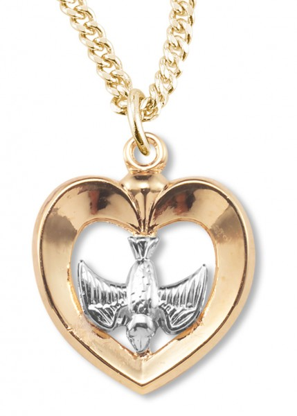 Women's 14kt Gold Over Sterling Silver Two-tone Cut Out Heart Dove Center + 18 Gold Plated Chain & Clasp - Two-Tone