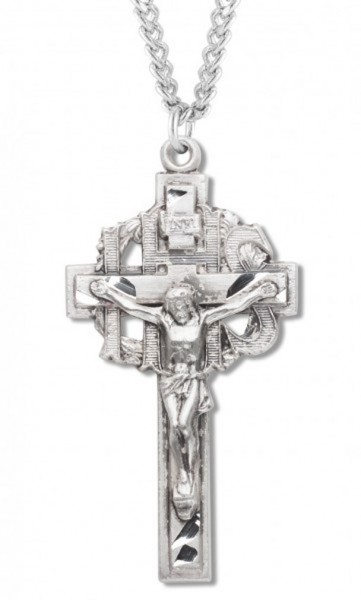 "Men's Sterling Silver IHS Crucifix Necklace with Chain Options - 24"" 2.4mm Rhodium Plate Endless Chain"