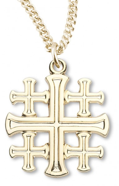 Womens 14kt gold plated high polish jerusalem cross necklace 18 womens 14kt gold plated high polish jerusalem cross necklace 18 inch gold plated chain clasp aloadofball Images