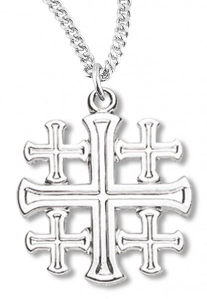 Womens jerusalem cross necklace sterling silver with chain options womens jerusalem cross necklace sterling silver with chain options 18quot 21mm rhodium aloadofball Images