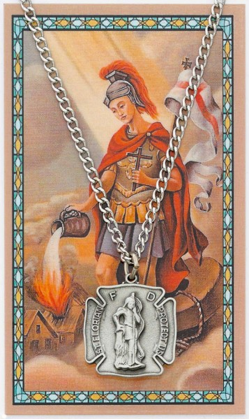 Large St. Florian Pewter Medal with Prayer Card - Silver tone