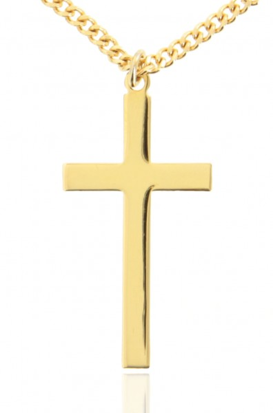 "Men's High Polish Classic Plain 16k Gold Plated Cross Necklace - 24"" 2.4mm Endless Gold Plated Chain"
