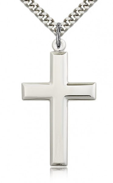 "Men's High Polish Sterling Silver Cross Pendant - 24"" 2.4mm Rhodium Plate Endless Chain"