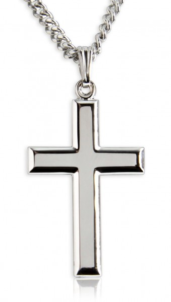 "Men's High Polish Sterling Silver Cross Pendant - 20"" Rhodium Plate Chain + Clasp"