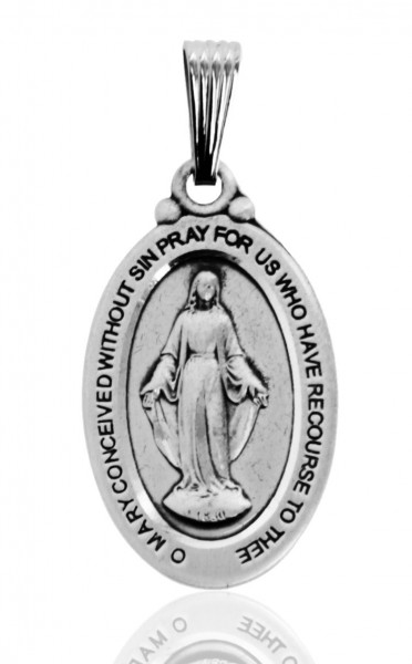 Men's Oval Sterling Silver Miraculous Medal with Decorative Bale - No Chain