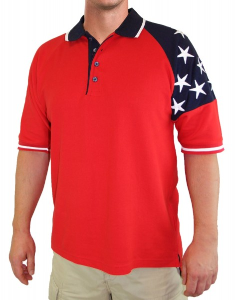 Men's Patriotic Polo with Stars in Red - Red