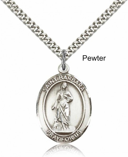 "Men's Pewter Oval St. Barbara Medal - 24"" 2.4mm Rhodium Plate Chain + Clasp"