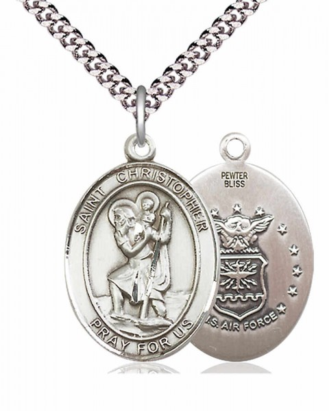"Men's Pewter Oval St. Christopher Air Force Medal - 24"" 2.4mm Rhodium Plate Chain + Clasp"