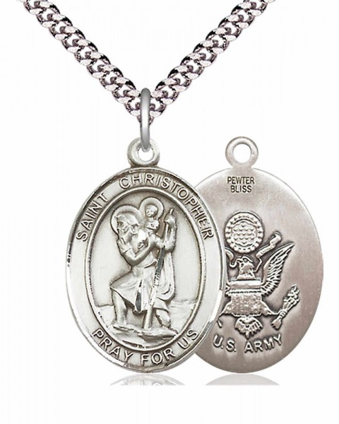 "Men's Pewter Oval St. Christopher Army Medal - 24"" 2.4mm Rhodium Plate Chain + Clasp"