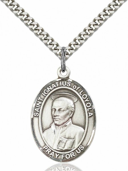 "Men's Pewter Oval St. Ignatius of Loyola Medal - 24"" 2.4mm Rhodium Plate Chain + Clasp"