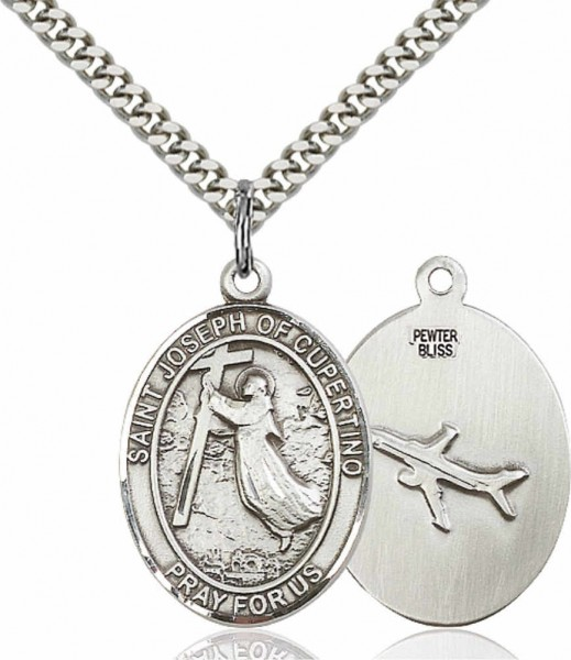 "Men's Pewter Oval St. Joseph of Cupertino Medal - 24"" Rhodium Plate Chain + Clasp"