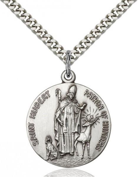 "Men's Round Sterling Silver St. Hubert of Liège Medal - 24"" 2.2mm Sterling Silver Chain + Clasp"