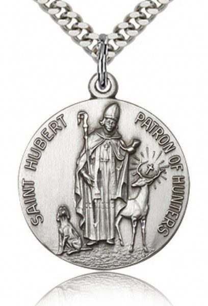 "Men's Round Sterling Silver St. Hubert of Liège Medal - 24"" 1.7mm Sterling Silver Chain & Clasp"