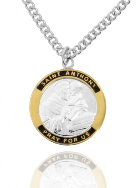"Men's Round Two-Tone Sterling Silver Saint Anthony Medal - 20"" Rhodium Plate Chain + Clasp"
