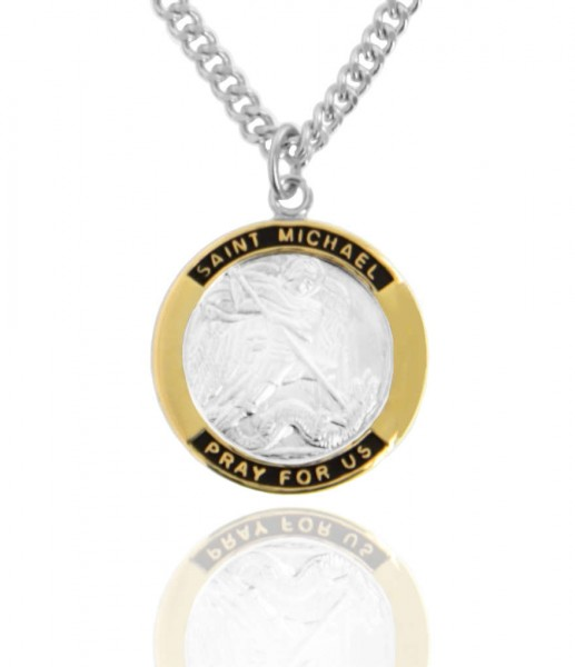 "Men's Round Two-Tone Sterling Silver Saint Michael Medal - 24"" 2.4mm Rhodium Plate Chain + Clasp"