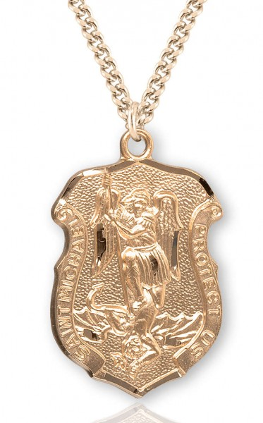 "Men's Saint Michael Gold Plated Police Shield Necklace - 24"" 2.4mm Endless Gold Plated Chain"
