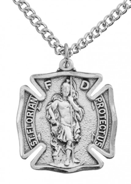 "Men's Sized Sterling Silver Saint Florian Firefighter Medal - 24"" Stainless Steel Chain + Clasp"