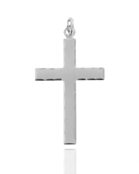 Men's Sterling Silver Etched Matte Cross with Lords Prayer - No Chain