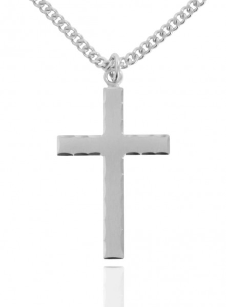 "Men's Sterling Silver Etched Matte Cross with Lords Prayer - 24"" 2.4mm Rhodium Plate Chain + Clasp"