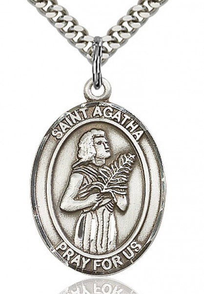 "Men's Sterling Silver Saint Agatha Oval Medal - 24"" 2.4mm Rhodium Plate Endless Chain"