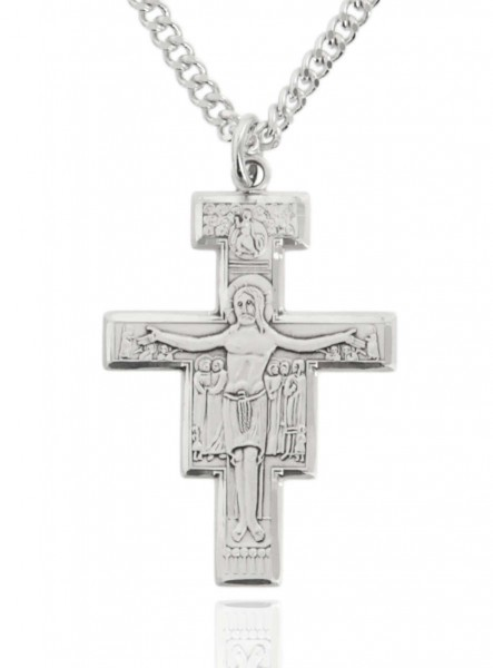 "Men's Sterling Silver San Damiano Crucifix - 24"" 2.4mm Rhodium Plate Chain + Clasp"