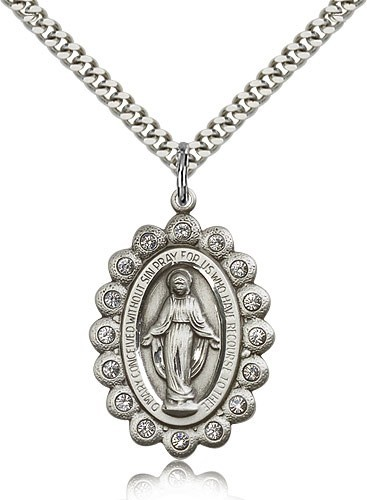 "Miraculous Medal, Sterling Silver - 24"" Sterling Silver Chain + Clasp"