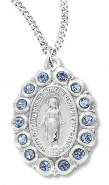 "Women's Miraculous Necklace Oval with Blue Colored Stones Sterling Silver with Chain Options - 20"" 2.25mm Rhodium Plated Chain with Clasp"