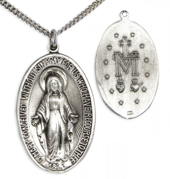 "Large Sterling Silver Miraculous Pendant with Chain Options - 27"" 2.4mm Rhodium Plated Endless Chain"