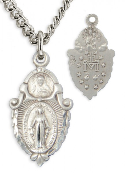 "Women's Sterling Silved Sacred Heart & Miraculous Pendant with Chain Options - 18"" 2.1mm Rhodium Plate Chain + Clasp"