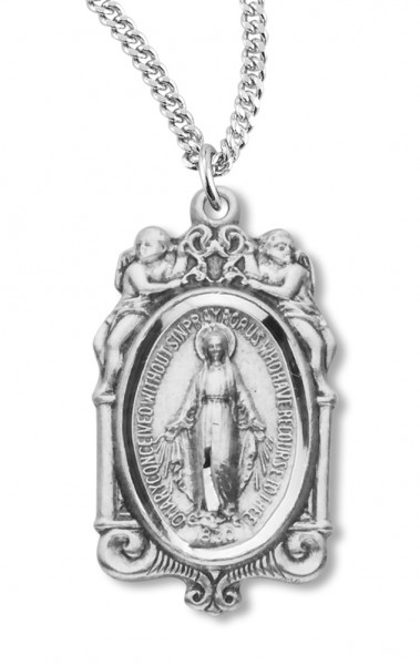 "Women's Sterling Silver Miraculous Necklace with Angels with Chain Options - 18"" 2.1mm Rhodium Plate Chain + Clasp"