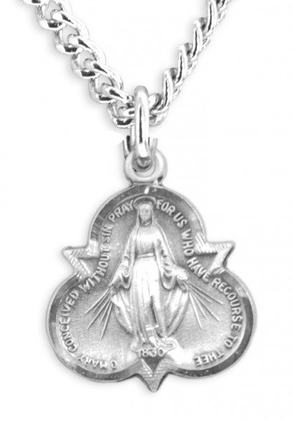 "Women's Sterling Silver Miraculous Trinity Necklace with Chain Options - 20"" 2.25mm Rhodium Plated Chain with Clasp"