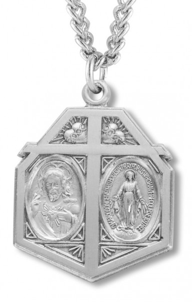 "Men's Sterling Silver Miraculous and Sacred Heart Necklace with Chain Options - 24"" 2.4mm Rhodium Plate Endless Chain"