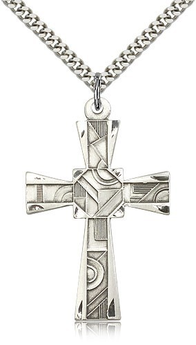 "Mosaic Cross Pendant, Sterling Silver - 24"" Sterling Silver Chain + Clasp"