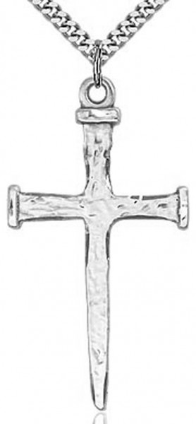 "Large Nail Cross Pendant, Sterling Silver - 24"" 2.4mm Rhodium Plate Chain + Clasp"