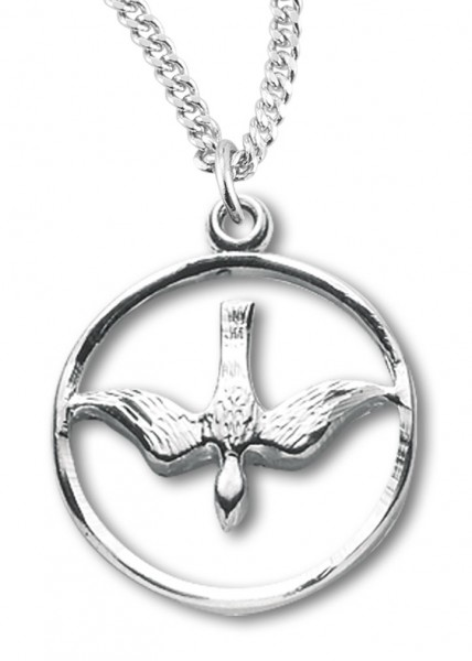 "Women's Sterling Silver Open Circle Descending Dove Necklace with Chain Options - 20"" 2.25mm Rhodium Plated Chain with Clasp"