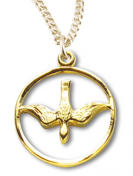 Women's 14kt Gold Over Sterling Silver Cut Out Open Circle Dove Necklace + 18 Inch Gold Plated Chain & Clasp - Gold-tone
