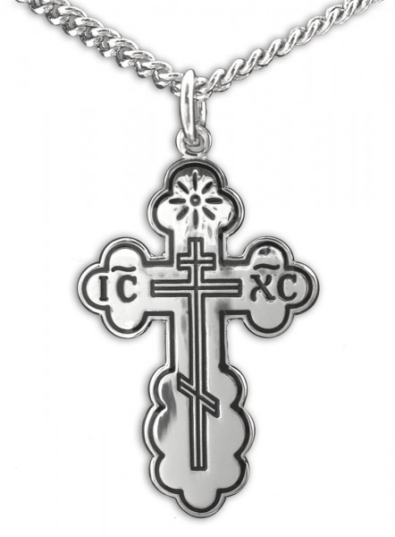 "Women or Teen Orthodox Cross Necklace, Sterling Silver with Chain - 20"" 2.25mm Rhodium Plated Chain with Clasp"