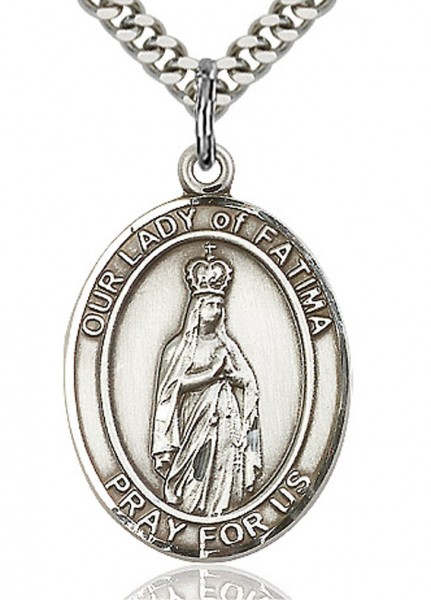 "Our Lady of Fatima Medal, Sterling Silver, Large - 24"" 2.4mm Rhodium Plate Endless Chain"